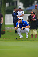 Alex Noren (Europe) on the 9th green during the Friday Foursomes of the Eurasia Cup at Glenmarie Golf and Country Club on the 12th January 2018.<br /> Picture:  Thos Caffrey / www.golffile.ie