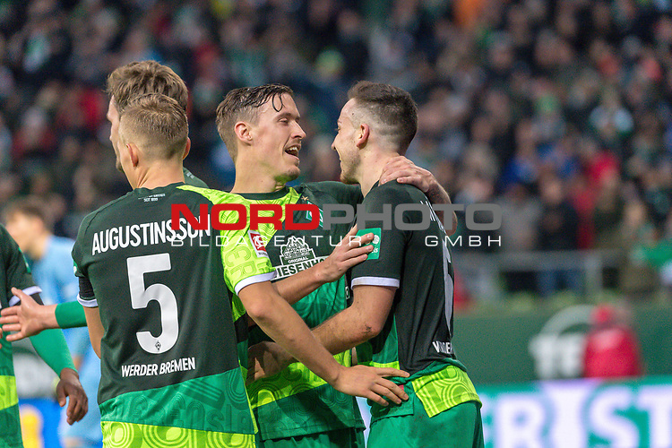 10.02.2019, Weser Stadion, Bremen, GER, 1.FBL, Werder Bremen vs FC Augsburg, <br /> <br /> DFL REGULATIONS PROHIBIT ANY USE OF PHOTOGRAPHS AS IMAGE SEQUENCES AND/OR QUASI-VIDEO.<br /> <br />  im Bild<br /> <br /> jubel tor 4:0 <br /> Kevin M&ouml;hwald / Moehwald (Werder Bremen #06)<br /> Max Kruse (Werder Bremen #10)<br /> Sebastian Langkamp (Werder Bremen #15)<br /> Ludwig Augustinsson (Werder Bremen #05)<br /> <br /> Foto &copy; nordphoto / Kokenge