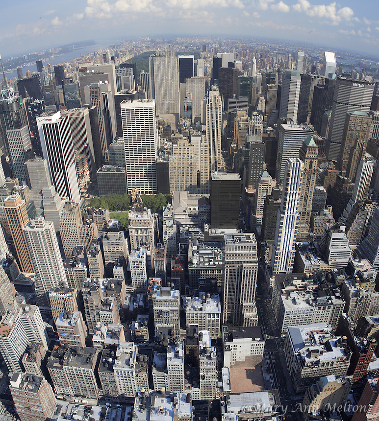 A stitched panoramic shot of uptown Manhattan,  New York City