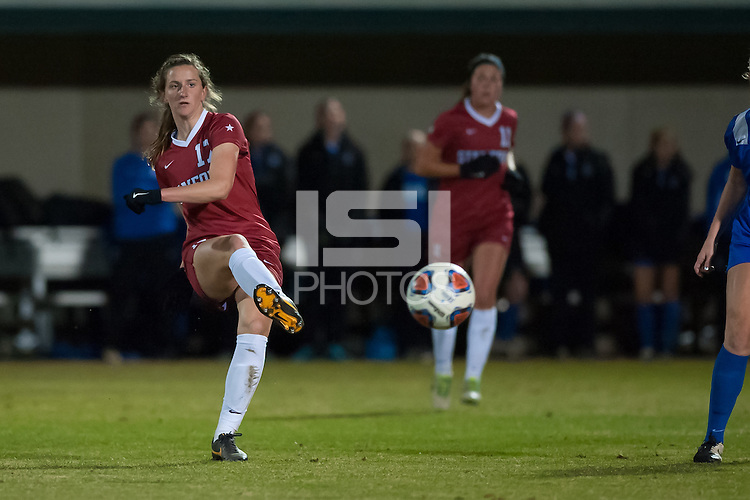 Stanford, CA - November 27, 2015: Andi Sullivan during the Stanford vs Duke Women's NCAA quarterfinal soccer match in Stanford, California.  The Cardinal fell to the Blue Devils 3-2 in penalty kicks after a 1-1 draw in double overtime.