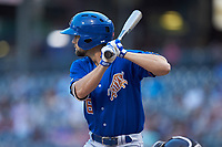 Nathan Lukes (6) of the Durham Bulls at bat against the Charlotte Knights at BB&T BallPark on July 31, 2019 in Charlotte, North Carolina. The Knights defeated the Bulls 9-6. (Brian Westerholt/Four Seam Images)