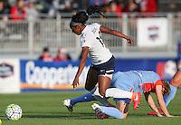 Boyds, MD - Saturday May 14, 2016: Washington Spirit forward Crystal Dunn (19) and Houston Dash defender Rebecca Moros (4) during a regular season National Women's Soccer League (NWSL) match at Maureen Hendricks Field, Maryland SoccerPlex.