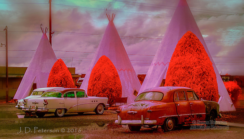 Wigwam Motel, Holbrook, Arizona (Infrared) ©2016 James D Peterson.  A scene from the heyday of Route 66.