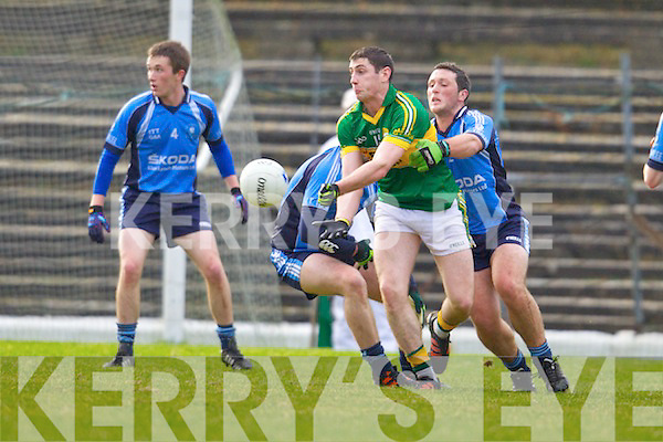 Paul Geaney Kerry in action against Cian Farrell the IT Tralee in the preliminary round of the McGrath Cup at Fitzgerald Stadium on Saturday.
