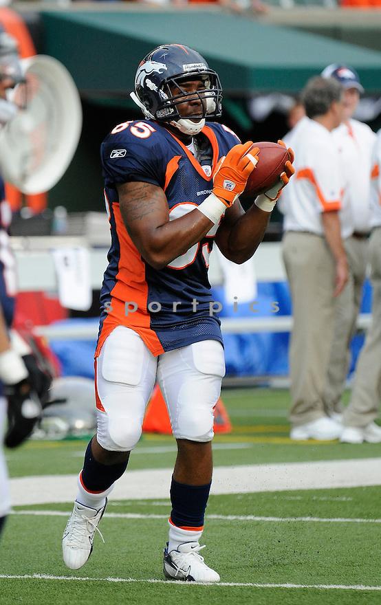 MARQUEZ BRANSON, of the Denver Broncos  in action during the Broncos game against the Cincinnati Bengals at Paul Brown Stadium in Cincinnati, OH.  on August 20, 2010.  The Bengals beat the Broncos 22-9 in the second week of preseason games...