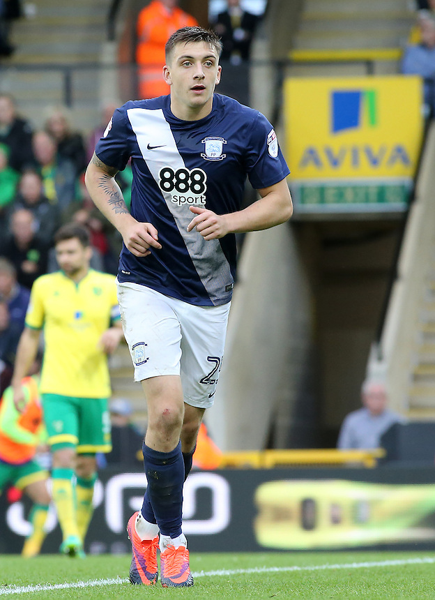 Preston North End's Jordan Hugill in action during todays match  <br /> <br /> Photographer David Shipman/CameraSport<br /> <br /> The EFL Sky Bet Championship - Norwich City v Preston North End - Saturday 22nd October 2016 - Carrow Road - Norwich<br /> <br /> World Copyright &copy; 2016 CameraSport. All rights reserved. 43 Linden Ave. Countesthorpe. Leicester. England. LE8 5PG - Tel: +44 (0) 116 277 4147 - admin@camerasport.com - www.camerasport.com