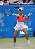 June 16th 2017, Nottingham, England; WTA Aegon Nottingham Open Tennis Tournament day 5;  Forehand from Kristie Ahn of USA who lost in the quarter final to Magdalena Rybarikova of The Slovak Republic
