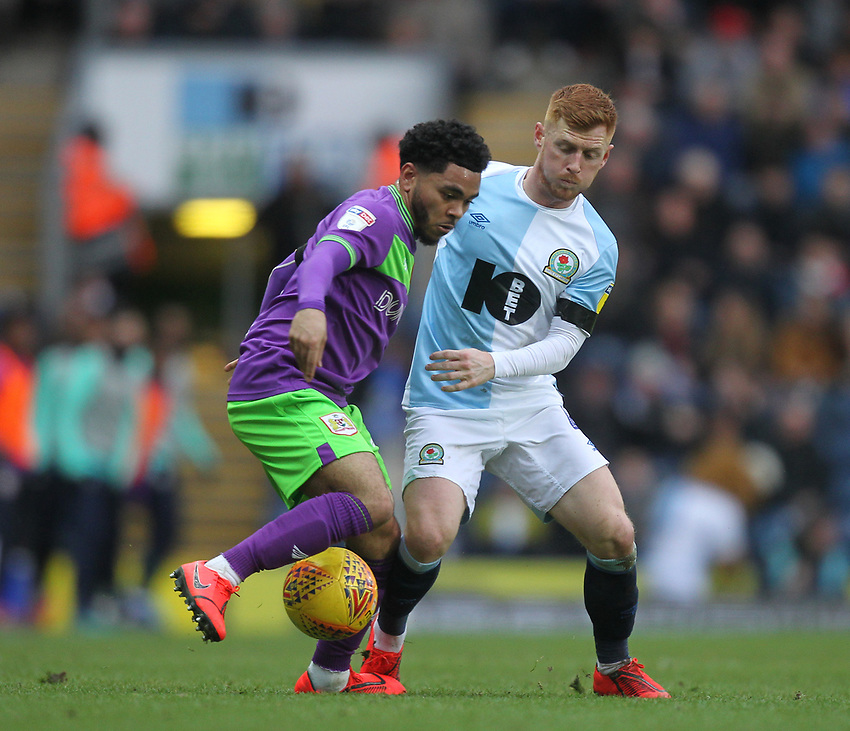 Blackburn Rovers Harrison Reed battles with  Bristol City's Jay Dasilva<br /> <br /> Photographer Mick Walker/CameraSport<br /> <br /> The EFL Sky Bet Championship - Blackburn Rovers v Bristol City - Saturday 9th February 2019 - Ewood Park - Blackburn<br /> <br /> World Copyright © 2019 CameraSport. All rights reserved. 43 Linden Ave. Countesthorpe. Leicester. England. LE8 5PG - Tel: +44 (0) 116 277 4147 - admin@camerasport.com - www.camerasport.com