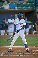 Sauryn Lao (3) of the Ogden Raptors at bat against the Missoula Osprey at Lindquist Field on August 12, 2019 in Ogden, Utah. The Raptors defeated the Osprey 4-3. (Stephen Smith/Four Seam Images)