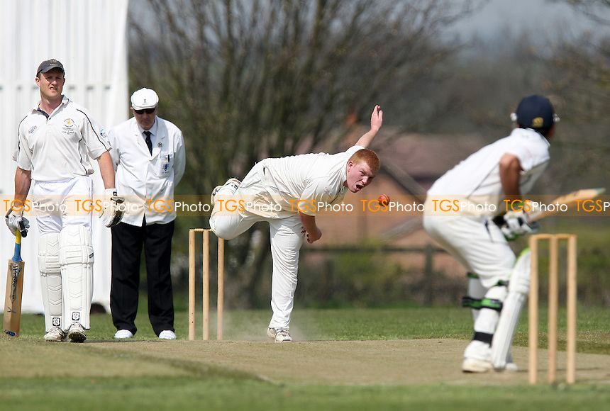 R Madder of Horndon bowls to F Butt - Horndon-on-the-Hill CC vs Ardleigh Green CC - Essex Cricket League Cup - 24/04/10 - MANDATORY CREDIT: Gavin Ellis/TGSPHOTO - Self billing applies where appropriate - Tel: 0845 094 6026