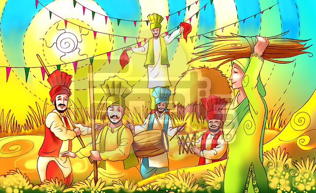 People celebrating Baisakhi festival