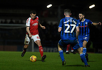 Fleetwood Town's James Wallace battles with Rochdale's Ethan Hamilton and Bradden Inman<br /> <br /> Photographer Hannah Fountain/CameraSport<br /> <br /> The EFL Sky Bet League One - Rochdale v Fleetwood Town - Saturday 19 January 2019 - Spotland Stadium - Rochdale<br /> <br /> World Copyright © 2019 CameraSport. All rights reserved. 43 Linden Ave. Countesthorpe. Leicester. England. LE8 5PG - Tel: +44 (0) 116 277 4147 - admin@camerasport.com - www.camerasport.com