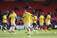 Swansea City warm up before the Barclays Premier League match between AFC Bournemouth and Swansea City played at The Vitality Stadium, Bournemouth on March 11th 2016