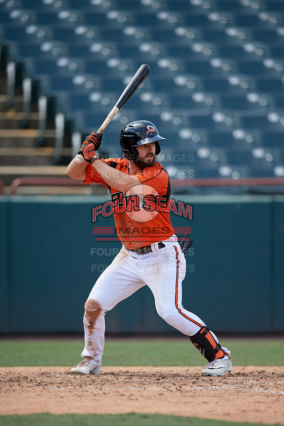 Bowie Baysox Ryan McKenna (1) bats during an Eastern League game against the Binghamton Rumble Ponies on August 21, 2019 at Prince George's Stadium in Bowie, Maryland.  Bowie defeated Binghamton 7-6 in ten innings.  (Mike Janes/Four Seam Images)