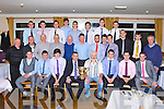 The Mid Kerry u21 team that were presented with their County Championship medals in Killorglin Golf club Saturday night front row l-r: Seamus O'Dowd, Stephen Roche, Fergal Hallissey, Patrick O'Sullivan Kerry County Board Chairman, James Wall Mid Kerry Chairman, Michael John O'Connor, Danny O'Sullivan, Conor Counihan. Back row: Johnny Connor, Michael Murphy, Peter Twiss, Johnny Sheehan, JP O'Sullivan, Michael O'Reilly, Gavin O'Brien, Liam Kerin, Pa Wrenn, Ronan Murphy, Donal Dennehy, Michael Sayers. Back row: Stephen Cahillane, Cieran Courtney, Jason Mckenna, Jack Brosnan, Gavin O'Grady and Mickie Houlihan
