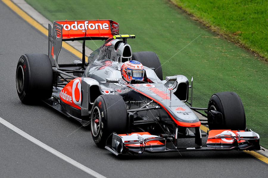 MELBOURNE, 25 MARCH - Jenson Button (Great Britain) driving the Vodafone McLaren Mercedes car (4) during practise session one of the 2011 Formula One Australian Grand Prix at the Albert Park Circuit, Melbourne, Australia. (Photo Sydney Low / syd-low.com)