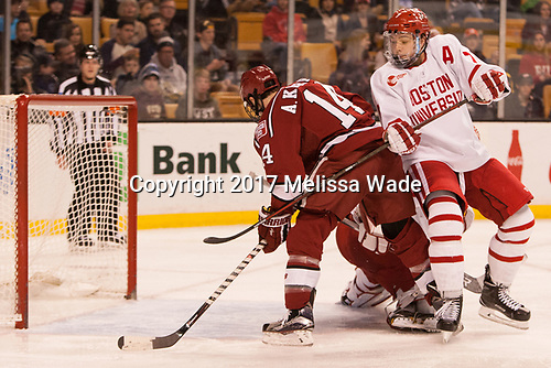 Alexander Kerfoot (Harvard - 14), Charlie McAvoy (BU - 7) - The Harvard University Crimson defeated the Boston University Terriers 6-3 (EN) to win the 2017 Beanpot on Monday, February 13, 2017, at TD Garden in Boston, Massachusetts.