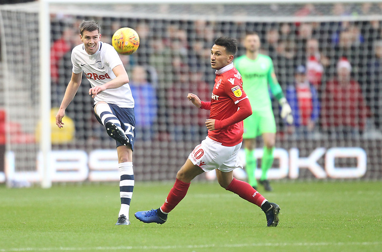 Preston North End's Paul Huntington in action with Nottingham Forest's Joao Carvalho<br /> <br /> Photographer Mick Walker/CameraSport<br /> <br /> The EFL Sky Bet Championship - Nottingham Forest v Preston North End - Saturday 8th December 2018 - The City Ground - Nottingham<br /> <br /> World Copyright © 2018 CameraSport. All rights reserved. 43 Linden Ave. Countesthorpe. Leicester. England. LE8 5PG - Tel: +44 (0) 116 277 4147 - admin@camerasport.com - www.camerasport.com