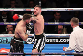24th March 2018, O2 Arena, London, England; Matchroom Boxing, WBC Silver Heavyweight Title, Dillian Whyte versus Lucas Browne; Undercard fight,  Lewis Ritson Versus Scott Cardle British Lightweight championship; Lewis Ritson and Scott Cardle come to blows during the first round