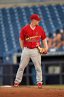 Palm Beach Cardinals starting pitcher Mike O'Reilly (30) looks in for the sign during a game against the Tampa Yankees on July 25, 2017 at George M. Steinbrenner Field in Tampa, Florida.  Tampa defeated Palm beach 7-6.  (Mike Janes/Four Seam Images)