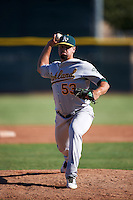 Oakland Athletics pitcher Ryan Gorton (53) during an instructional league game against the Los Angeles Angels on October 9, 2015 at the Tempe Diablo Stadium Complex in Tempe, Arizona.  (Mike Janes/Four Seam Images)