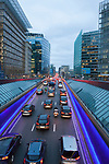 Morning Traffic beside the European Commission,  Schuman, Brussels, Belgium