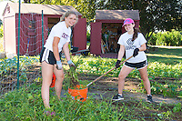 Freshmen Kaitlyn Roberts and Abby Duffy volunteer at the Methodist Community Gardens in Middletown while taking part in the Salve Regina Service Plunge.