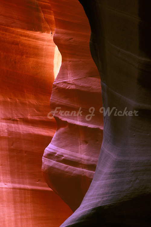 Sculptured sandstone hoodoos created by natural forces of erosion in the Antelope slot canyon of Arizona near Lake Powell and Page