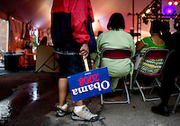 Charles Morton (cq), holds a sign supporting Barack Obama, in 5 Points in Denver, Colorado, while waiting to watch Barack Obama accept the nomination for President of the United States during the Democratic National Convention, Thursday, August 28, 2008...PHOTOS/ MATT NAGER