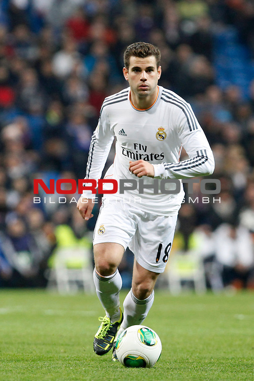 Real Madrid¬¥s Nacho during a Copa del Rey soccer match between Real Madrid and Olimpic de Xativa at Santiago Bernabeu Stadium in Madrid. December 18, 2013. Foto © nordphoto / Caro Marin) *** Local Caption ***