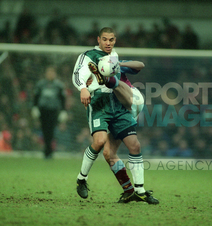 Stan Collymore of Liverpool tackled by Gareth Southgate of Aston Villa - Barclays Premier League - Aston Villa v Liverpool - Villa Park Stadium - Birmingham - England - 31st  January 1996 - Picture Simon Bellis/Sportimage