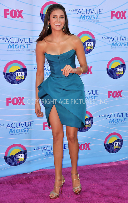 WWW.ACEPIXS.COM . . . . .  ..... . . . . US SALES ONLY . . . . .....July 22 2012, LA....Nina Dobrev at the 2012 Teen Choice Awards on July 22 2012 in Los Angeles ....Please byline: FAMOUS-ACE PICTURES... . . . .  ....Ace Pictures, Inc:  ..Tel: (212) 243-8787..e-mail: info@acepixs.com..web: http://www.acepixs.com