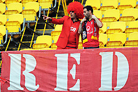 Adelaide fans at the A-League football match between Wellington Phoenix and Adelaide United FC at Westpac Stadium in Wellington, New Zealand on Sunday, 8 October 2017. Photo: Dave Lintott / lintottphoto.co.nz
