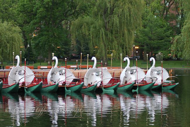 Resting swan boats. Boston Public Garden, MA