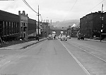 loomfield Section of Pittsburgh:  View of an accident scene at the 3500 block of Liberty Avenue for Railway Express - 1950.  During the 1950's, Brady Stewart Studio was a contract photographer for Railway Express, predecessor of the Port Authority.  Brady Stewart Studio would send photographers to the accident scene and also photograph the damaged vehicles for court cases.