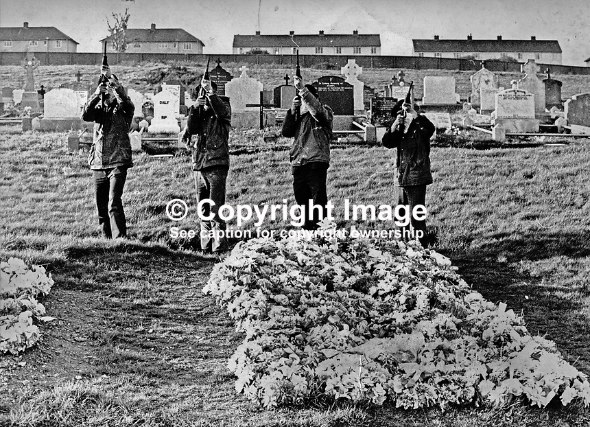 IRA volunteers fire a volley of shots fired over the grave of 19 year Eamonn Lafferty in the City Cemetry, Londonderry.  Lafferty, a native of Derry, died in a gun battle with British soldiers on 18 August 1971. The gun battle was triggered by the military moving into the Bogside to remove barricades, following the earlier shooting dead  of the first soldier to be killed by either IRA faction in the city. The volley of shots tooks place some time after Lafferty's funeral. 19710800EL..Copyright Image from Larry Doherty, c/o Victor Patterson, 54 Dorchester Park, Belfast, UK, BT9 6RJ..Tel: +44 28 9066 1296.Mob: +44 7802 353836.Voicemail +44 20 8816 7153.Skype: victorpattersonbelfast.Email: victorpatterson@mac.com.Email: victorpatterson@ireland.com (back-up)..IMPORTANT: If you wish to use this image or any other of my images please go to www.victorpatterson.com and click on the Terms & Conditions. Then contact me by email or phone with the reference number(s) of the image(s) concerned.