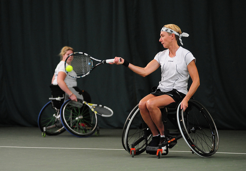 Sabine Ellerbrock (GER), right, and Louise Hunt (GBR) [1] in action during their Women's Doubles Main Draw Final against Lauren Jones (GBR) [2] and Jordanne Whiley (GBR) ..Tennis - ITF Nottingham Indoor Wheelchair Tennis Tournament - Saturday 27th October 2012 - Nottingham Tennis Centre - Nottingham..©Tennis Foundation/James Jordan..www.tennisfoundation.org.uk.info@tennisfoundation.org.uk