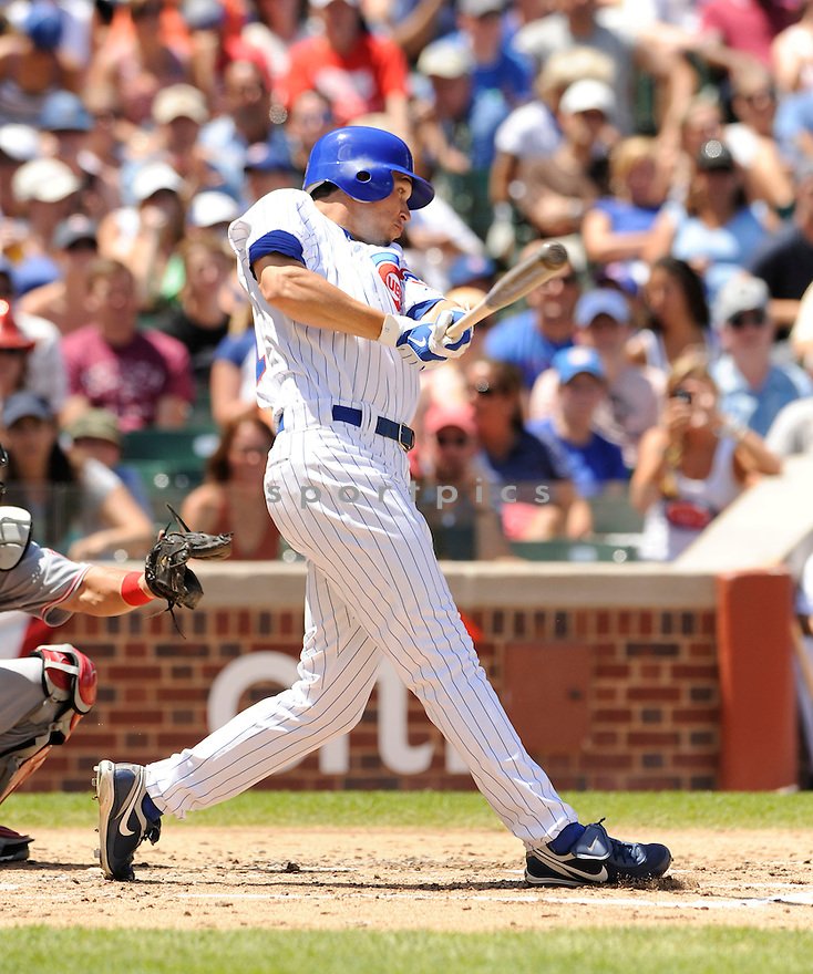 TYLER COLVIN,  of the Chicago Cubs,  in action  during the Cubs  game against the Cincinnati Reds in Chicago, Illinois on July 4, 2010. The Cincinnati Reds beat the Chicago Cubs b14-3..