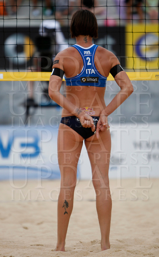 Italy's Greta Cicolari in action at the Beach Volleyball World Tour Grand Slam, Foro Italico, Rome, 22 June 2013. United States defeated Italy 2-0. UPDATE IMAGES PRESS/Isabella Bonotto