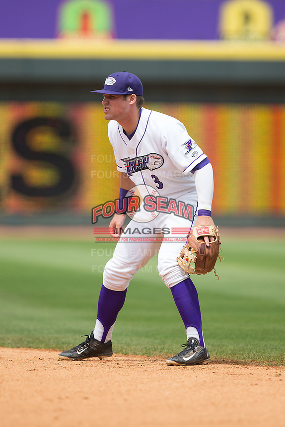 Winston-Salem Dash second baseman Jake Peter (3) on defense against the Myrtle Beach Pelicans at BB&T Ballpark on May 10, 2015 in Winston-Salem, North Carolina.  The Pelicans defeated the Dash 4-3.  (Brian Westerholt/Four Seam Images)
