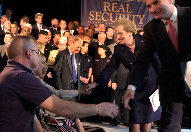 Former Secretary of State Madeline Albright and Sen. Jack Reed, D-R.I., greet first responders upon entering an event at Union Station, that unveiled the comprehensive Democratic plan to protect America called Real Security.  Democratic members of the House and Senate also attended the event.