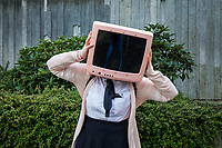 Pink Television Head, Sakura Con 2017, Seattle, Washington, USA.