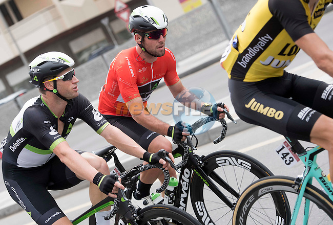 Race leader Mark Cavendish (GBR) and leadout man Mark Renshaw (AUS) Team Dimension Data in action during Stage 2 the Nation Towers Stage of the 2017 Abu Dhabi Tour, running 153km around the city of Abu Dhabi, Abu Dhabi. 24th February 2017<br /> Picture: ANSA/Claudio Peri | Newsfile<br /> <br /> <br /> All photos usage must carry mandatory copyright credit (&copy; Newsfile | ANSA)