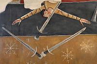 Detail of sword catcher, wall painting (20th century copy),  North Wall, Lombard Romanesque style Church of Sant Joan de Boi, 11th century, Catalonia, Spain. This mural represents the celebration of the celestial universe and the music and joy enjoyed by the blessed. The murals are now preserved at the National Museum of Catalan Art (MNAC) in Barcelona. Picture by Manuel Cohen.