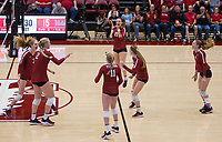 Stanford, CA - November 17, 2019: Sidney Wilson, Holly Campbell, Kathryn Plummer, Kate Formico, Jenna Gray, Meghan McClure at Maples Pavilion. #4 Stanford Cardinal defeated UCLA in straight sets in a match honoring neurodiversity.