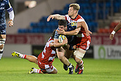 29th September 2017, AJ Bell Stadium, Salford, England; Aviva Premiership Rugby, Sale Sharks versus Gloucester; Sale Sharks' Marc Jones is tackled by Gloucester Rugby's Ed Slater