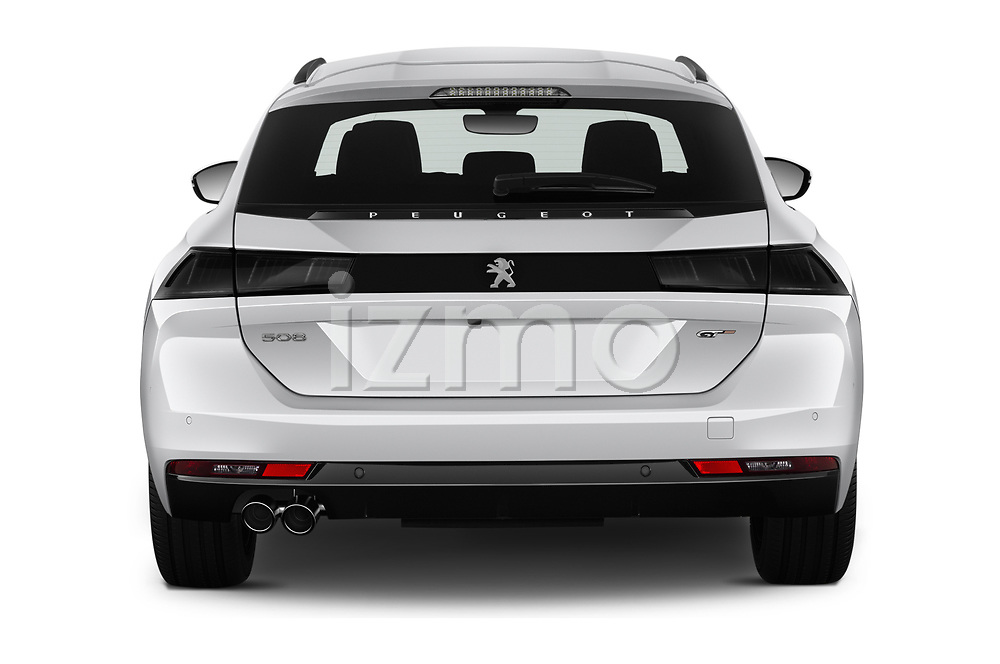 Straight rear view of a 2019 Peugeot 508 First Edition 5 Door Wagon stock images