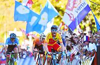 Picture by Simon Wilkinson/SWpix.com - 30/09/2018 - Cycling 2018 Road Cycling World Championships Innsbruck-Tirol, Austria - Men's Elite Road Race -Alejandro Valverde of Spain celebrates as he crosses the line.