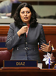 Nevada Assemblywoman Olivia Diaz, D-North Las Vegas, speaks in opposition to a bill that would help low-income students attend private schools during floor discussion at the Legislative Building in Carson City, Nev., on Wednesday, April 1, 2015. The bill passed out of the Assembly on a 25-17 party-line vote. <br /> Photo by Cathleen Allison