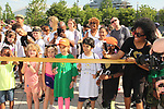 Another World's Rhonda Ross and son Raif - Ribbon Cutting at Hearts of Gold Run/Walk for Kids 2018 join with kids and their moms in New York City, New York. After the walk they did tug of war, hop scotch, card games, exercise, food, a fun day on the pier. (Photo by Sue Coflin/Max Photo)